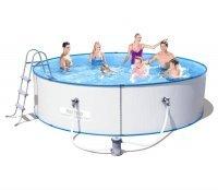 Бассейн сборный круглый 360х90см, Bestway Hydrium Splasher Pool Set,металлич. каркас 56377, ф-насос, лестница