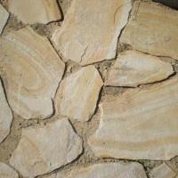 Природный камень пластушка песчаник Бело-жёлтый с разводами
