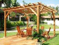Навес (пергола) из дерева для дачи или дома серии Стиль