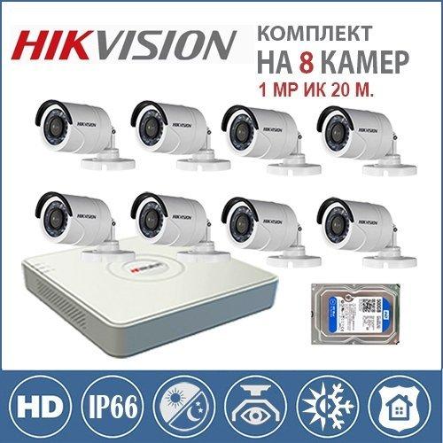 Комплект видеонаблюдения для охраны придомовой территории на 8 видеокамер