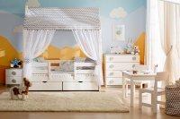 Текстильное оформление кровати домика