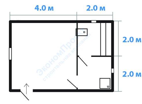"Баня 6x4 из бруса (100х150) под ключ. От компании ""Эконом Проект""."