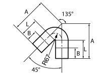 Колено, 135°, 100, чугун, для обводных трубопроводов
