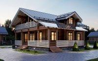 Проект дома № 338. Дом из клееного бруса 185 х 200 мм, 224,78м². Размеры 14000 х 12100.