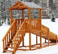 Установка зимней горки, игрового и спортивного комплекса на улице