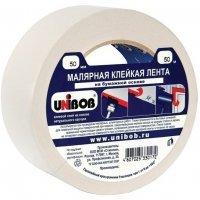 Лента клейкая малярная (крепп) UNIBOB 50 мм х 50 м белая