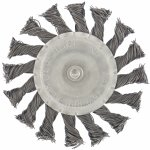 Щетка для дрели, 100 мм, плоская со шпилькой, крученая металлическая проволока MATRIX 74432