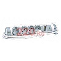 """Удлинитель 4X2К+З с индикатором потребленной мощности и защитой """"Safe control"""", кабель 1,5 метра, Legrand - LN-694641"""