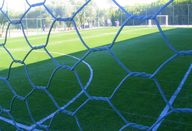 Забор из сетки с шестигранными ячейками двойного кручения из проволоки оцинкованной с ПНД покрытием.
