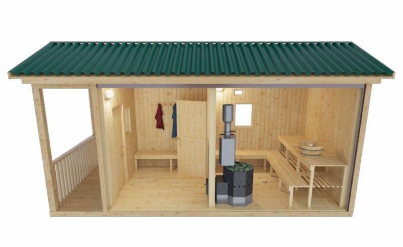 Готовая мобильная баня 2.35 х 5