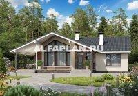 """623A """"Яркий мир"""" - проект одноэтажного коттеджа с высокой гостиной и просторной террасой"""