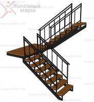 Лестница на металле с перилами Лестница на металлическом каркасе в дом на второй этаж