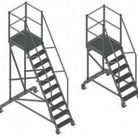Лестница с площадкой. Лестница с платформой. Трап передвижной