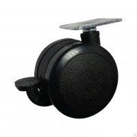 Колесо мебельное поворотное, с тормозом ( черный нейлон)
