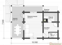 Проект бани № 5. Баня из оцилиндрованных бревен 59,19м², 10000 х 7000.