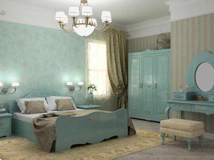 Спальня серии РОКОКО из эмалевого МДФ с рисунком