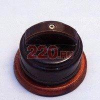 Ретро-выключатель на 2 нагрузки: керамика, роторный. Коричневый, ручка полукруг, тёмная подложка. - Z24-29-3