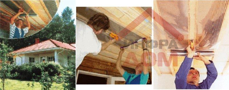 Электромонтаж модульного потолочного отопления (основное отопление)