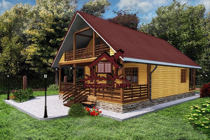 Дом из бруса 8х8 с мансардой и двумя террасами