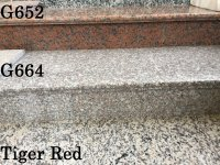 Ступень из гранита полированная Tiger Red, 1200х350х30мм