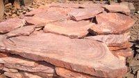 """Природный камень """"Красный с разводами - рисунком песчаник"""""""