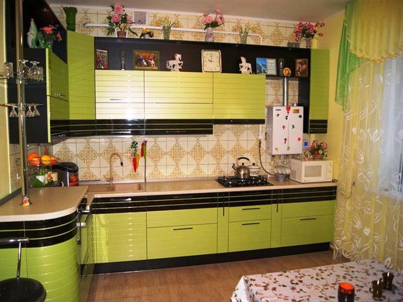 Кухня Бостон RAL6019/шпон Эбен