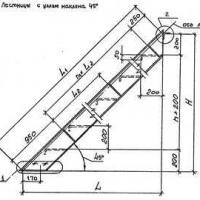 Стальная маршевая лестница типа ЛГФ 45 по серии 1.450.3-7.94