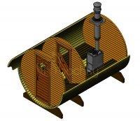 Баня-бочка «Стандарт» с козырьком  из Ели, длина 3,5 м, ширина 2 м. Под ключ !!!