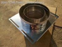 Монтажная площадка дымохода нержавейка 0,8 мм. D115/200. Толщина пластины 1,5 мм.