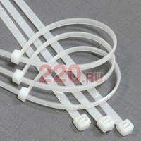 Хомут пластмассовый стяжка кабельная. Цвет БЕЛЫЙ, 2,5 х 160 мм, упаковка 100 шт., Экопласт - 45160