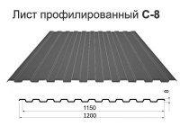 Профнастил С8-1150 оцинкованный 0,35мм 2000*1200*0.35мм