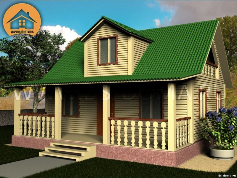 """Каркасный дом 8x9 м. проект: """"Горы"""""""