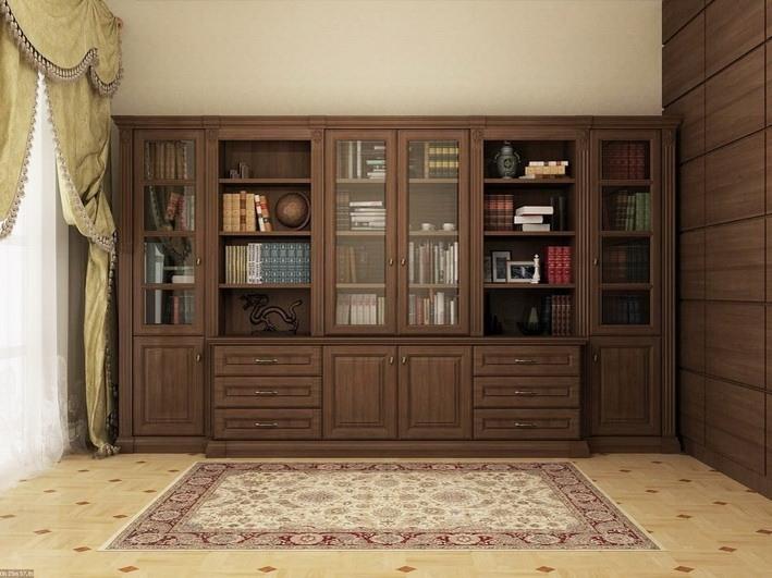 Библиотека серии МОЦАРТ  из массива дерева с фрезеровкой