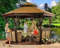 Грация летняя открытая шестиугольная деревянная беседка для сада для улицы для участка фабрики Леда
