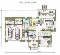 """Проект 560E """"Прайд"""" - современный коттедж с остекленной верандой и гаражом"""