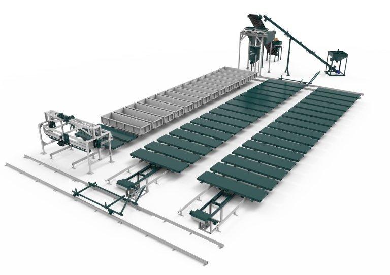 Конвеерная линия для производста газобетона со струнной резкой РТМ-100КА
