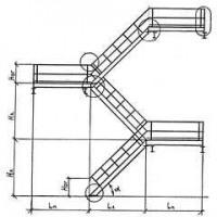 Стальная 3-маршевая эвакуационная лестница с разворотными площадками и лестничным ограждением
