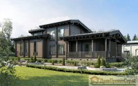 Проект дома № 339. Дом из клееного бруса 185 х 200 мм, 224,82м². Размеры 24550 х 8800.