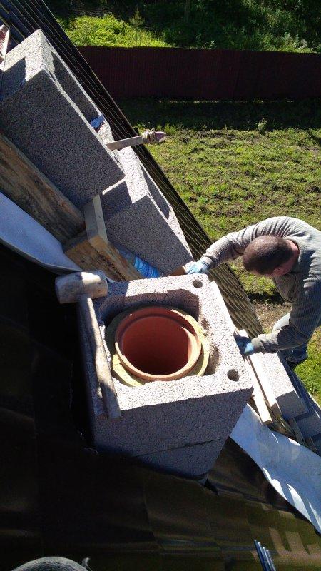 Монтаж керамического дымохода одноходового без вентиляционного канала диаметром от 80 мм до 200 мм включительно.