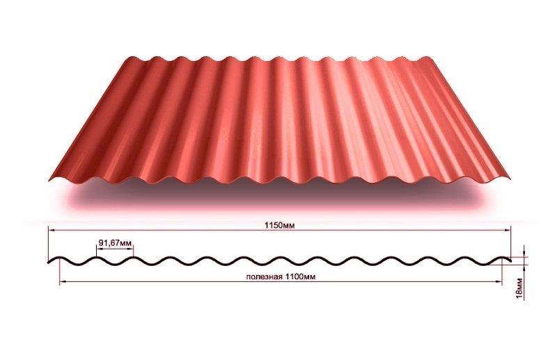 Профнастил МП18-1150 волна, оцинкованный 0,45мм