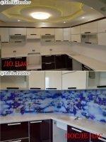 Кухонный фартук из стекла, зеркала, мдф, с рисунками и фотопечатью.