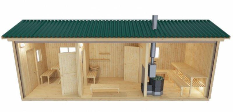 Готовая мобильная баня 2.35 х 7