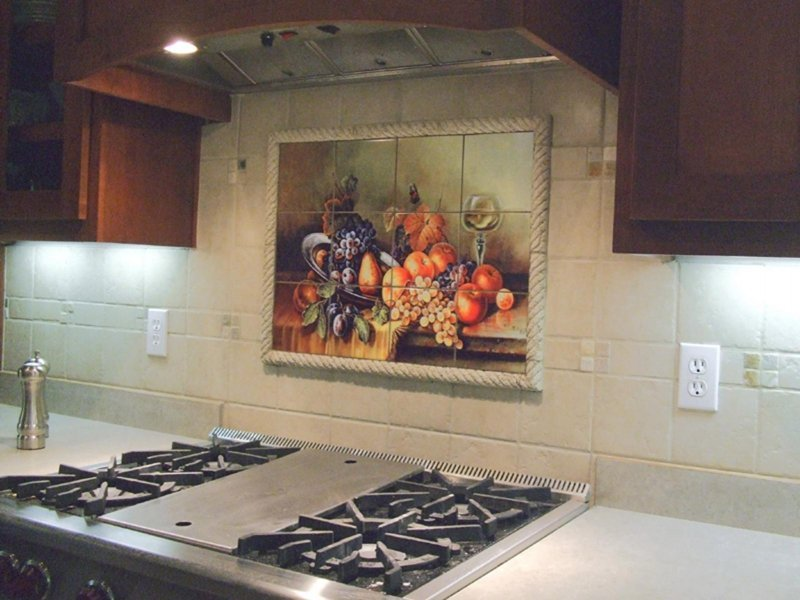 Фотоплитка для кухонного фартука.Плитка 20х20см.