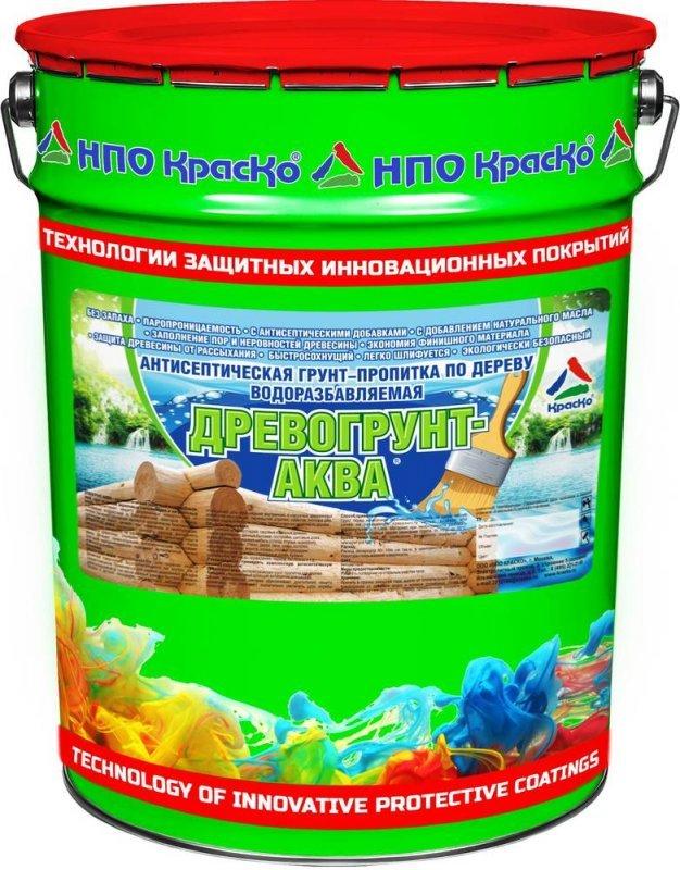 Древогрунт-Аква - антисептическая грунт-пропитка по дереву водоразбавляемая, 20кг
