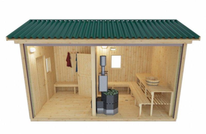 Готовая мобильная баня 2.35 х 4