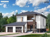 Проект дома 474Е «Ирида», 3 спальни + кабинет, теплый гараж на 2 авто, 241м2