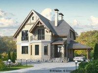 R2-131-1 «Шевалье» - компактный дом с балконом над эркером 102A 3D из теплоблоков