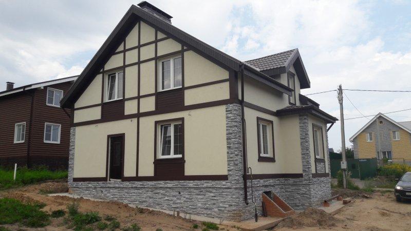 Строительство коттеджа из красного кирпича по проекту Дом 137.