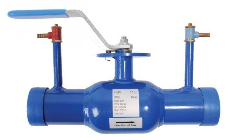 Кран линейно регулирующий, шаровой,  под приварку, Ду050, Ру40, КШП тип HBV113r, Ст. 20