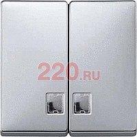 Клавиша двойная с/п выключателя (переключателя, кнопки) двухклавишного алюминий, Merten SD - SCMTN413560